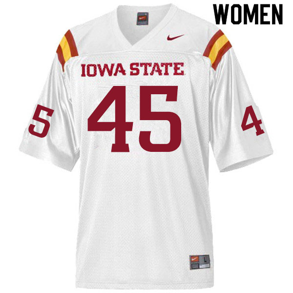 Women #45 Corey Suttle Iowa State Cyclones College Football Jerseys Sale-White