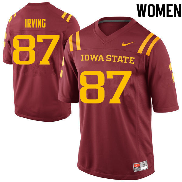 Women #87 David Irving Iowa State Cyclones College Football Jerseys Sale-Cardinal