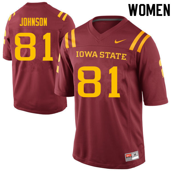 Women #81 Denver Johnson Iowa State Cyclones College Football Jerseys Sale-Cardinal