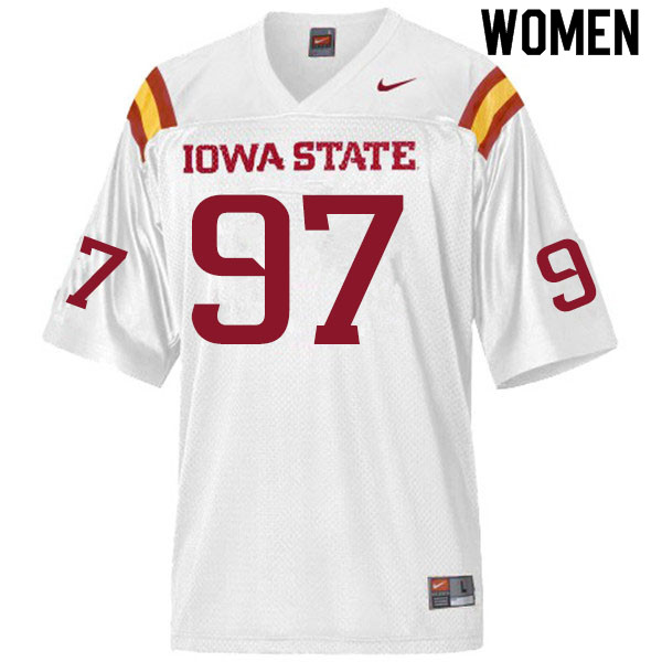 Women #97 Drake Nettles Iowa State Cyclones College Football Jerseys Sale-White