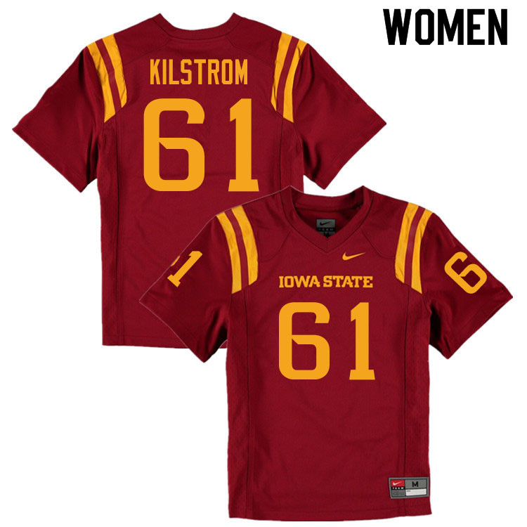 Women #61 Evan Kilstrom Iowa State Cyclones College Football Jerseys Sale-Cardinal