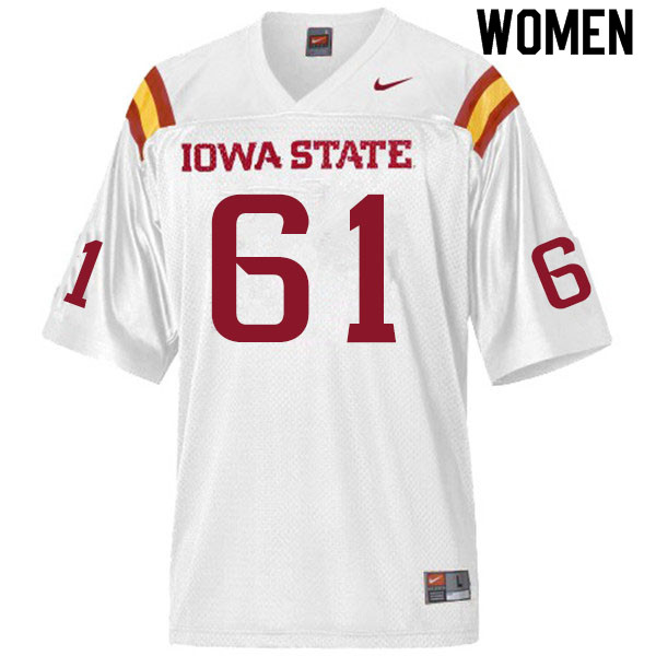 Women #61 Evan Kilstrom Iowa State Cyclones College Football Jerseys Sale-White