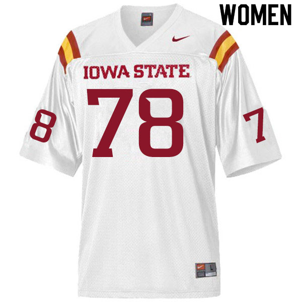 Women #78 Jeremiah Marlin Iowa State Cyclones College Football Jerseys Sale-White