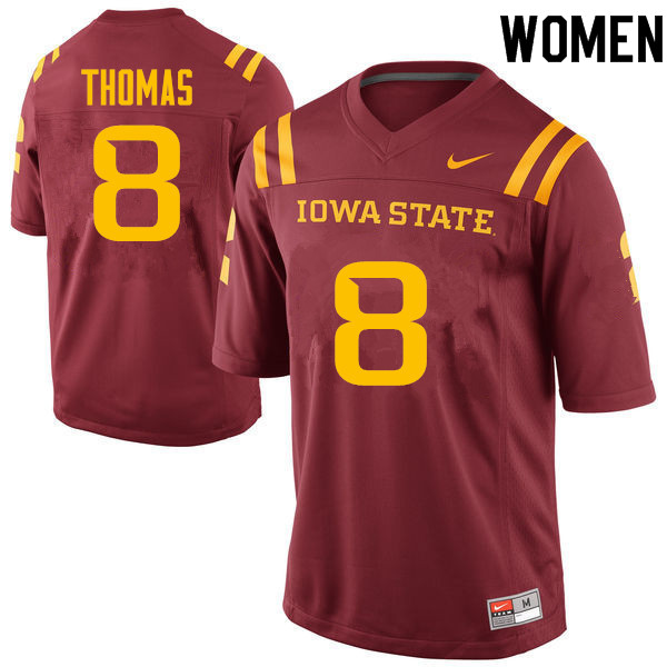 Women #8 Jhaustin Thomas Iowa State Cyclones College Football Jerseys Sale-Cardinal