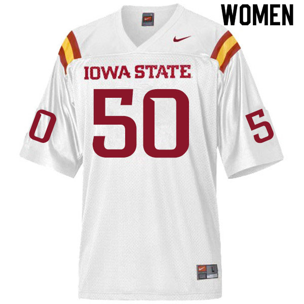 Women #50 Logan Otting Iowa State Cyclones College Football Jerseys Sale-White