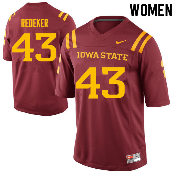 Women #43 Logan Redeker Iowa State Cyclones College Football Jerseys Sale-Cardinal