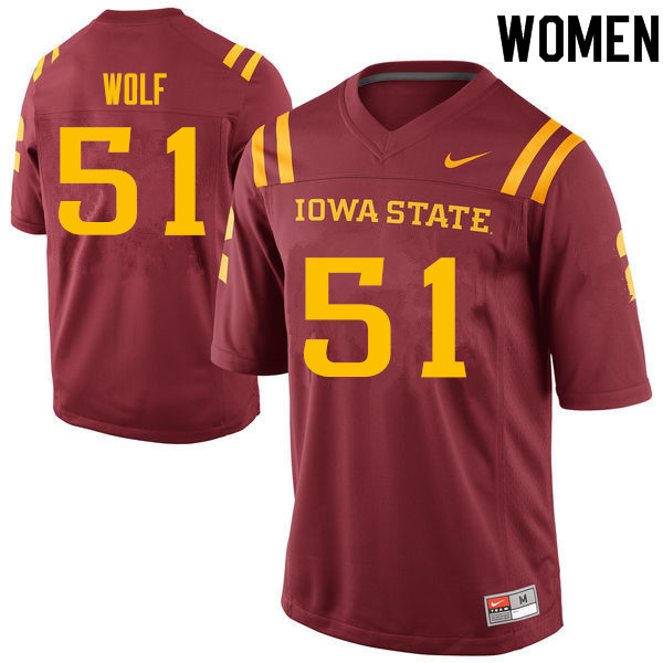 Women #51 Logan Wolf Iowa State Cyclones College Football Jerseys Sale-Cardinal