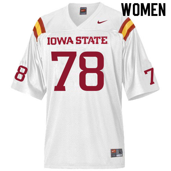 Women #78 Nick Lawler Iowa State Cyclones College Football Jerseys Sale-White