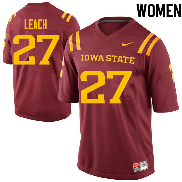 Women #27 Nick Leach Iowa State Cyclones College Football Jerseys Sale-Cardinal