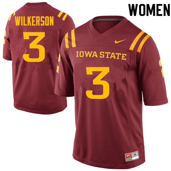 Women #3 Reggie Wilkerson Iowa State Cyclones College Football Jerseys Sale-Cardinal