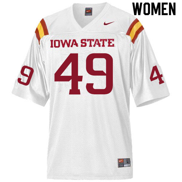 Women #49 Trey Fancher Iowa State Cyclones College Football Jerseys Sale-White