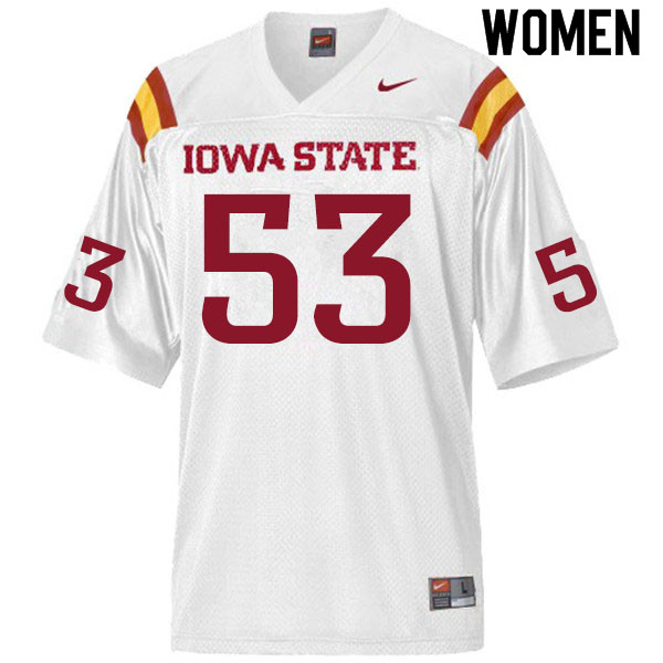 Women #53 Will Clapper Iowa State Cyclones College Football Jerseys Sale-White