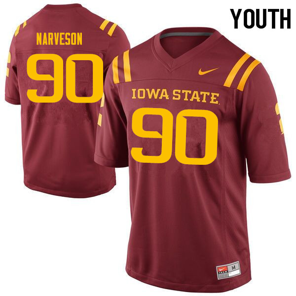 Youth #90 Brayden Narveson Iowa State Cyclones College Football Jerseys Sale-Cardinal