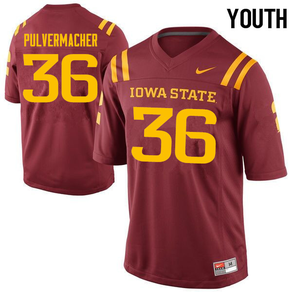Youth #36 Chandler Pulvermacher Iowa State Cyclones College Football Jerseys Sale-Cardinal