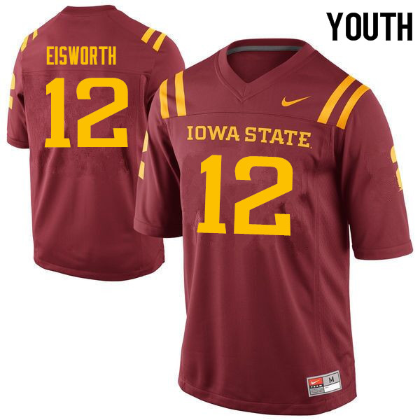 Youth #12 Greg Eisworth Iowa State Cyclones College Football Jerseys Sale-Cardinal