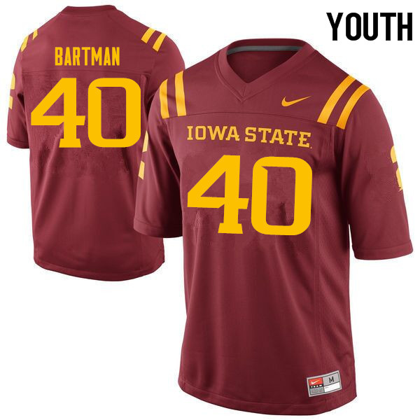 Youth #40 Morgan Bartman Iowa State Cyclones College Football Jerseys Sale-Cardinal
