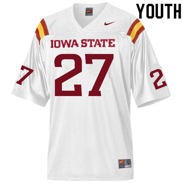 Youth #27 Amechie Walker Iowa State Cyclones College Football Jerseys Sale-White