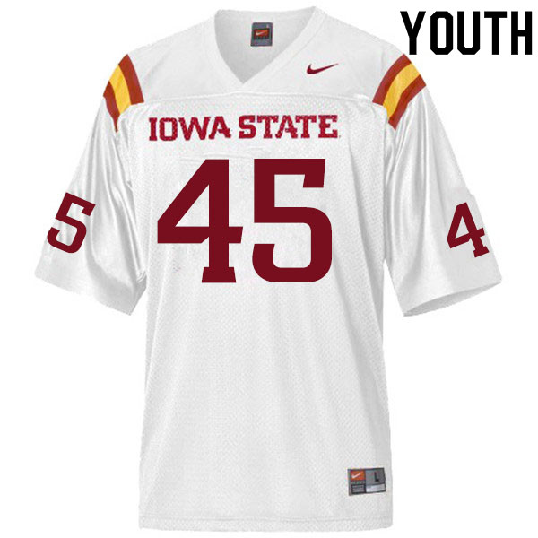 Youth #45 Ben Latusek Iowa State Cyclones College Football Jerseys Sale-White