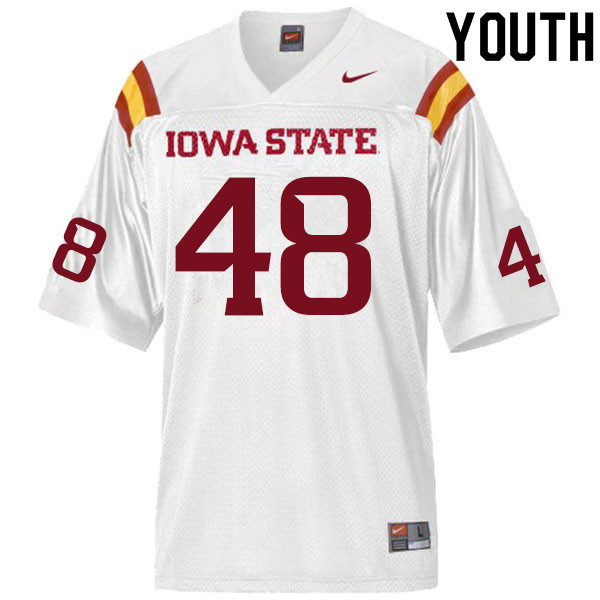 Youth #48 Benjamin Dunkleberger Iowa State Cyclones College Football Jerseys Sale-White