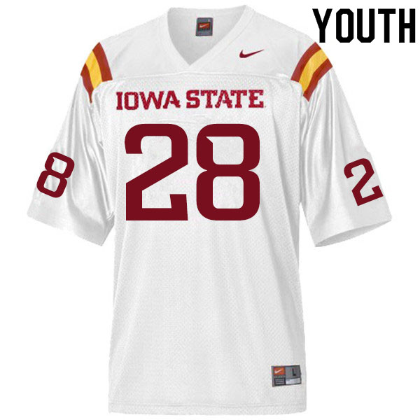 Youth #28 Breece Hall Iowa State Cyclones College Football Jerseys Sale-White