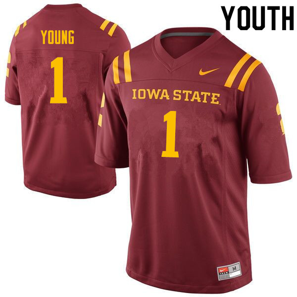 Youth #1 Datrone Young Iowa State Cyclones College Football Jerseys Sale-Cardinal