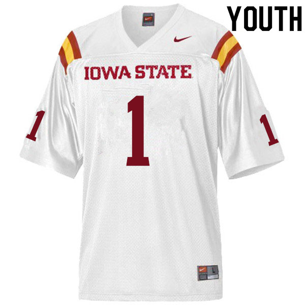 Youth #1 Datrone Young Iowa State Cyclones College Football Jerseys Sale-White