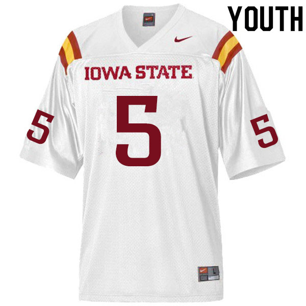 Youth #5 Eyioma Uwazurike Iowa State Cyclones College Football Jerseys Sale-White