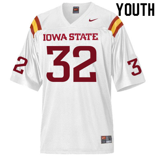 Youth #32 Gerry Vaughn Iowa State Cyclones College Football Jerseys Sale-White