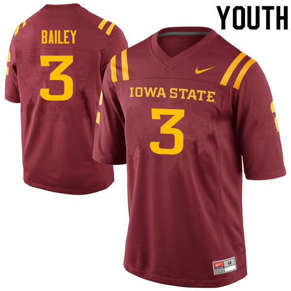 Youth #3 JaQuan Bailey Iowa State Cyclones College Football Jerseys Sale-Cardinal