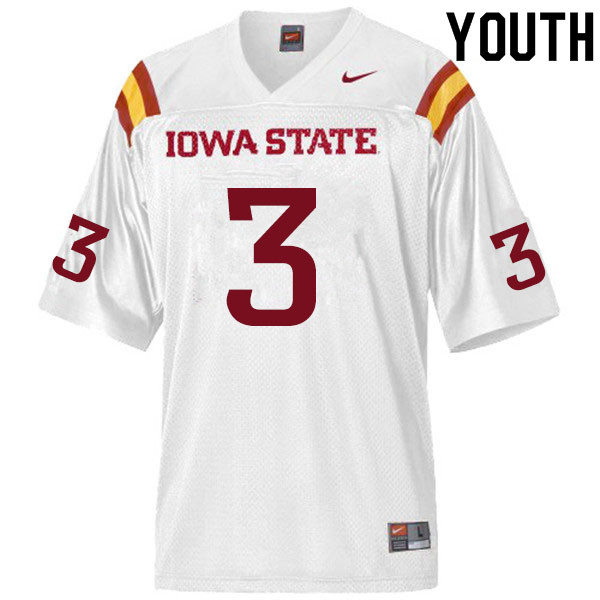 Youth #3 JaQuan Bailey Iowa State Cyclones College Football Jerseys Sale-White