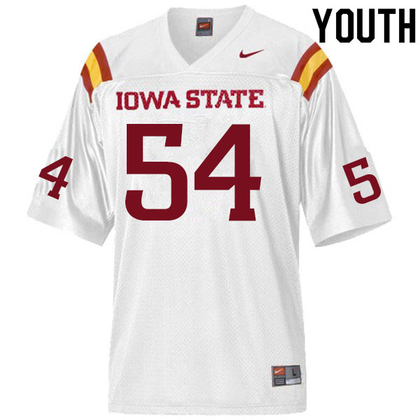 Youth #54 Jarrod Hufford Iowa State Cyclones College Football Jerseys Sale-White