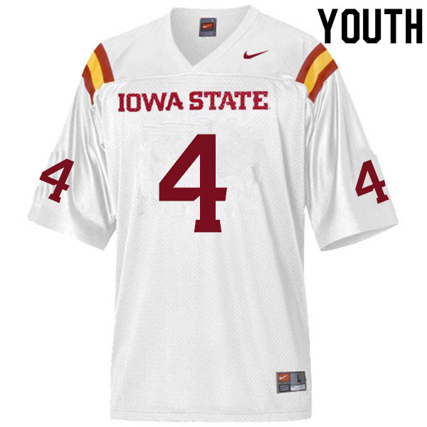 Youth #4 Johnnie Lang Iowa State Cyclones College Football Jerseys Sale-White
