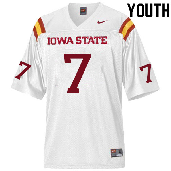 Youth #7 Justin Bickham Iowa State Cyclones College Football Jerseys Sale-White