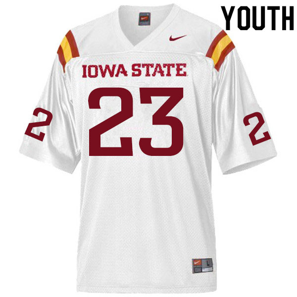 Youth #23 Parker Rickert Iowa State Cyclones College Football Jerseys Sale-White