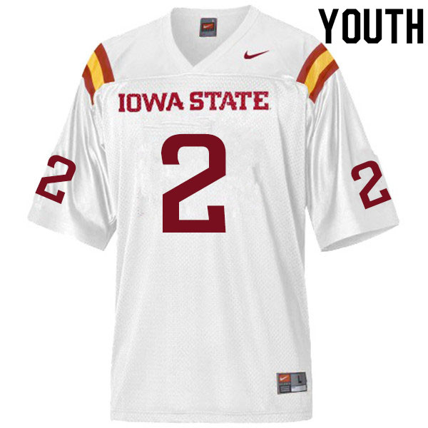 Youth #2 Sean Shaw Jr. Iowa State Cyclones College Football Jerseys Sale-White