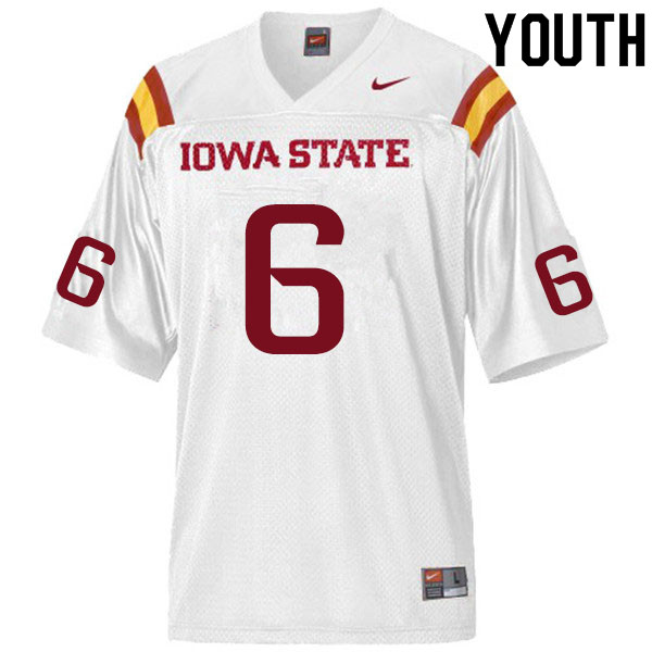 Youth #6 Tymar Sutton Iowa State Cyclones College Football Jerseys Sale-White
