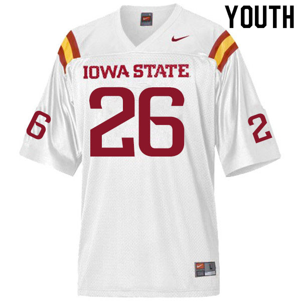Youth #26 Anthony Johnson Jr. Iowa State Cyclones College Football Jerseys Sale-White
