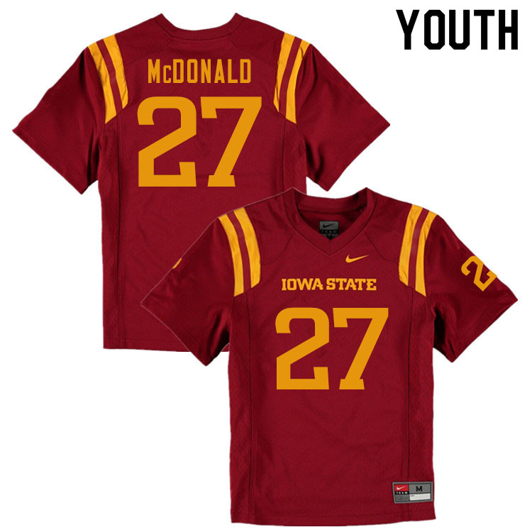 Youth #27 Craig McDonald Iowa State Cyclones College Football Jerseys Sale-Cardinal