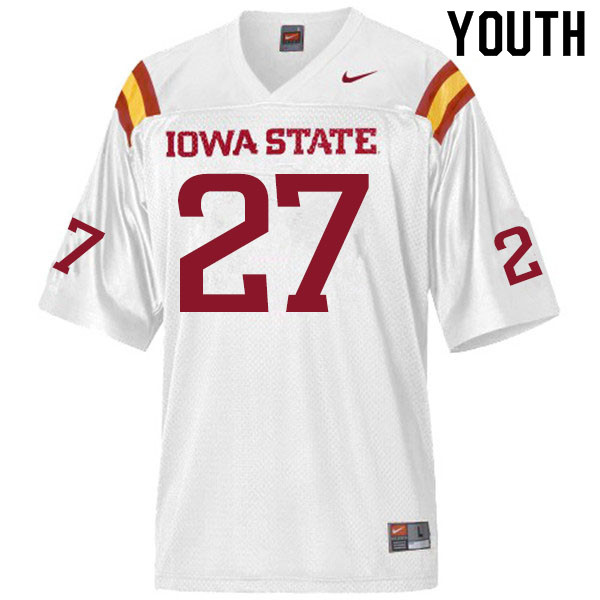 Youth #27 Craig McDonald Iowa State Cyclones College Football Jerseys Sale-White