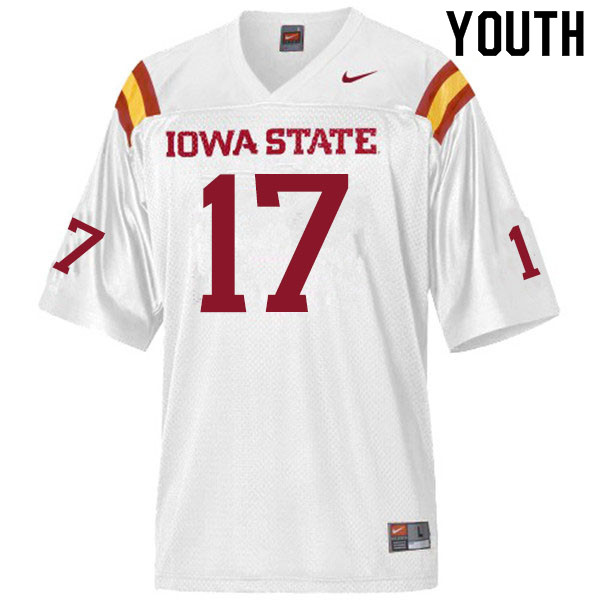 Youth #17 Darren Wilson Jr. Iowa State Cyclones College Football Jerseys Sale-White