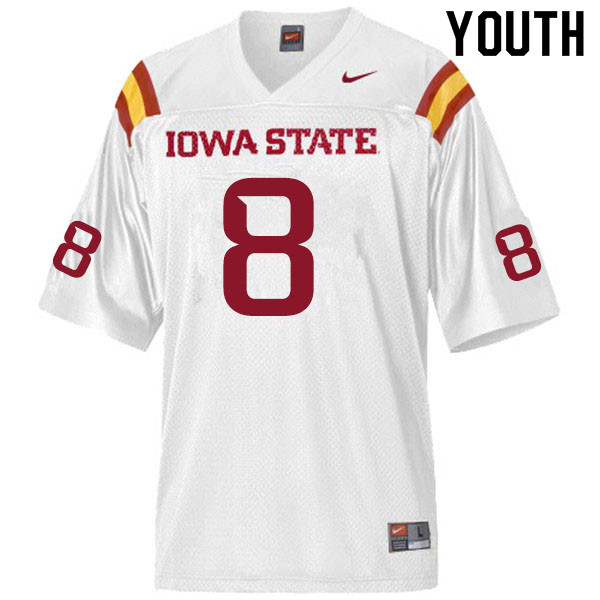 Youth #8 Greg Ross Jr. Iowa State Cyclones College Football Jerseys Sale-White