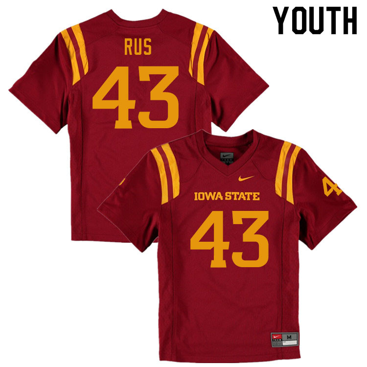 Youth #43 Jared Rus Iowa State Cyclones College Football Jerseys Sale-Cardinal