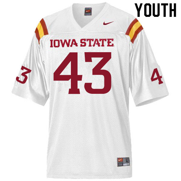 Youth #43 Jared Rus Iowa State Cyclones College Football Jerseys Sale-White