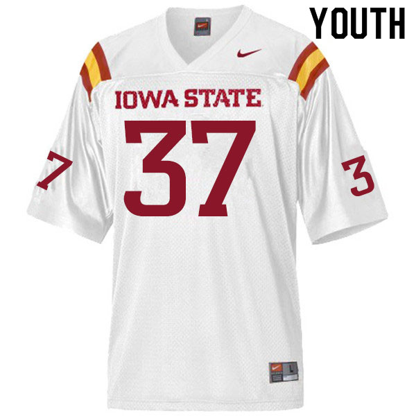 Youth #37 Jordyn Morgan Iowa State Cyclones College Football Jerseys Sale-White
