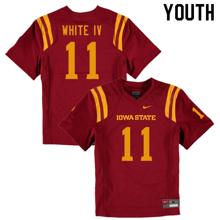 Youth #11 Lawrence White IV Iowa State Cyclones College Football Jerseys Sale-Cardinal