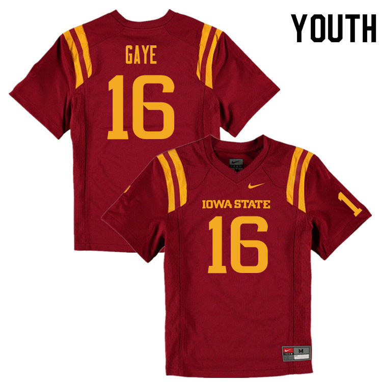 Youth #16 Answer Gaye Iowa State Cyclones College Football Jerseys Sale-Cardinal