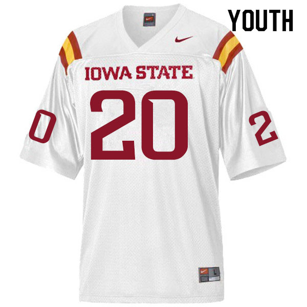 Youth #20 Aric Horne Iowa State Cyclones College Football Jerseys Sale-White