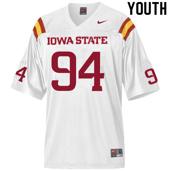 Youth #94 Cameron Shook Iowa State Cyclones College Football Jerseys Sale-White