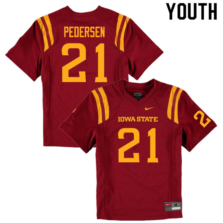Youth #21 Cole Pedersen Iowa State Cyclones College Football Jerseys Sale-Cardinal