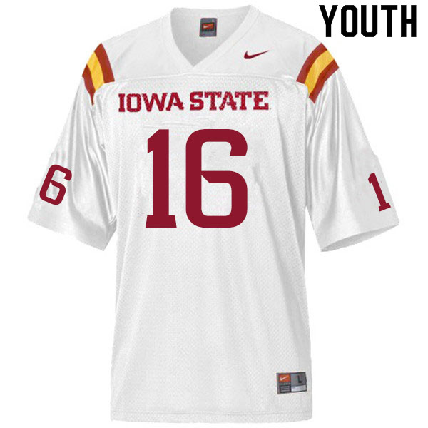 Youth #16 Daniel Jackson Iowa State Cyclones College Football Jerseys Sale-White
